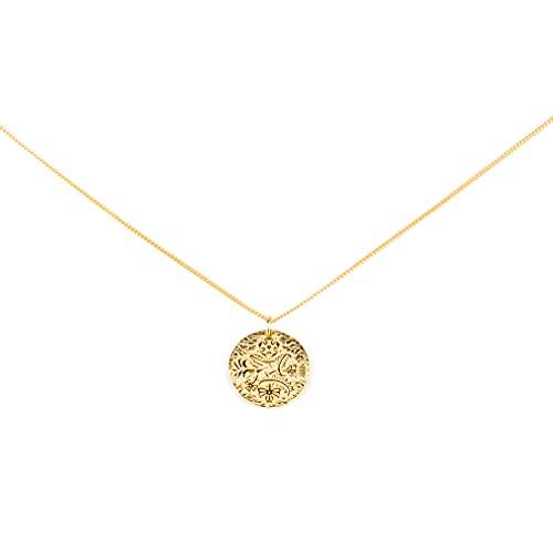 Medallón de plata chapada en oro de 18 quilates, cadena fina chapada en oro, plata de ley 925, joyas de fantasía para mujer, medallón grabado de ángel