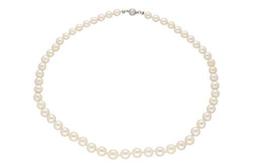 edmira Perlenkette 7mm/46cm mit Kugelschließe Silber 800, Akoya-Perle