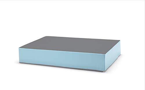 traturio Hüpfmatratze für alle kleinen und großen Hüpfer 130x90x25cm (Mittelgrau/eisblau)