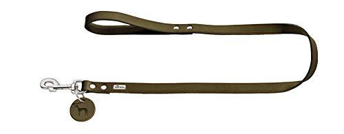 HUNTER Guinzaglio per cani, in pelle, semplice, resistente, morbido, 1,3 x 110 cm, colore: verde oliva