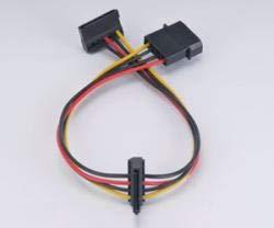 Akasa AK-CBPW01-30 - 4-pins Molex to 2 x SATA power adapter (AK-CBPW01-30)