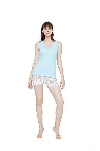 PimpamTex – Pijama de Verano para Mujer, Conjunto 2 Piezas Camiseta de Tirantas y Pantalón Corto, 100% Algodón Suave y Transpirable, Diseños Originales y Divertidos