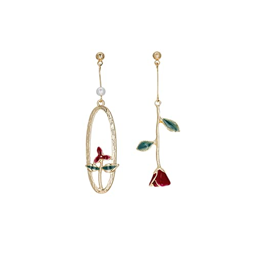DEYUCHANG Pendientes Vintage Pendientes de Perlas de Rosa roja asimétrica Pendientes de Oreja S925 Pendientes de Aguja de Plata para niña, sin Orejas Perforadas, niñas para niños (Color : Earr
