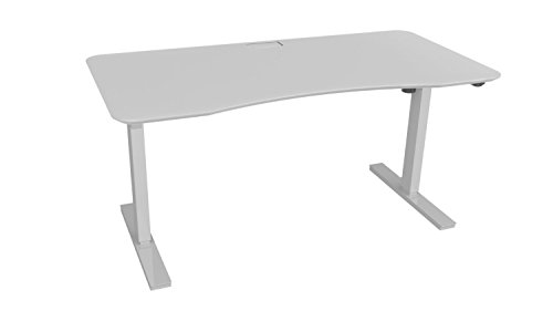 Ergo Elements Height Adjustable Electric Standing Desk with 60' Top 4 Memory Buttons LED Display, White with White Top