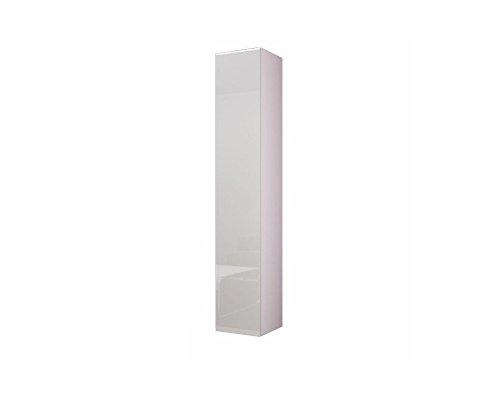 Furniture24 Hängeschrank Vigo 180, Vitrinenschrank, Wandschrank, 1 Tür Schrank mit 4 Einlegeboden, Farbauswahl, Stauraumvitrine, Hochschrank, Wohnzimmerschrank, Modernes Vitrine (Weiß/Weiß Hochglanz)
