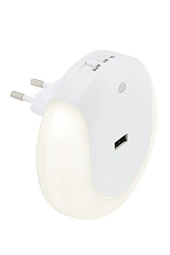 Briloner Led-nachtlampje voor kinderen, voor stopcontact, autoschemersensor, 3 schakelopties, rond, inclusief USB-aansluiting, Ø 9 cm