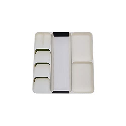 Wzdszuilsn Organizador Cubiertos, Caja de Cocina Organizador Tray Cuchara Cubiertos Separación Acabado Caja de Almacenamiento Cubiertos Cocina Almacenamiento Organización Accesorios (Color : White)