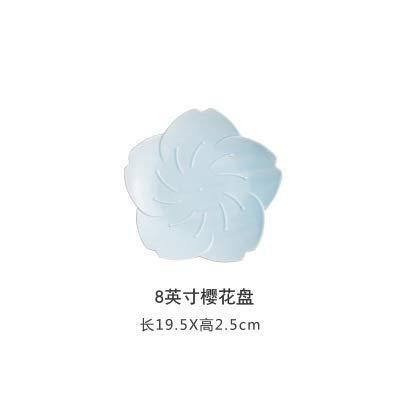 Las placas ZJN-JN Flor de cerezo japonesa placa de cerámica creativa comida de la tarde de té plato placa Personalidad del hogar placa plana Vajilla Snack-Plate 8 pulgadas cereza Disco - Pequeño - azu