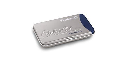 Pelikan Tintenpatrone Edelstein Ink Collection GTP - 6 Patronen im Metalletui, Tanzanite (blau-schwarz); Sie erhalten 5 Packungen mit je 6 Patronen