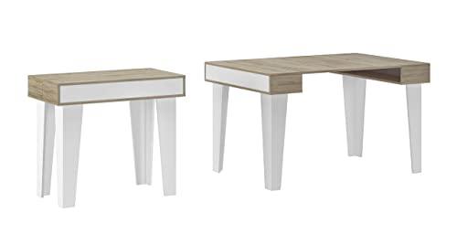 Skraut Home - Table Console Extensible, rectangulaire avec rallonges, Nordic KL jusqu'à 140 cm, Style Scandinave pour Salle à Manger et séjour, Blanc Mat - Chêne brossé. Jusqu´à 6 Personnes