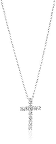 """Platinum-Plated Sterling Silver Cross Pendant Necklace set with Swarovski Zirconia (1 cttw), 18"""""""
