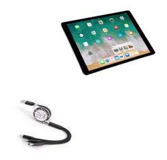 BoxWave Cable for iPad Pro 10.5 (2017) [AllCharge miniSync] Retractable, Portable USB Cable for Apple iPad Pro 10.5 (2017) - Jet Black