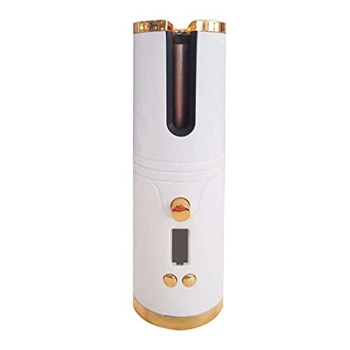 FISEYU 1 Unidades Rizador Inalámbrico De Calefacción Rápida Pantalla LCD Ultra-light Curling Hair Varita Para Niña Blanco