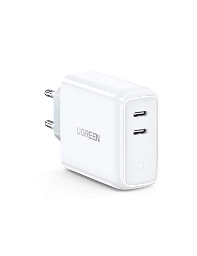UGREEN USB C Ladegerät 36W Power Delivery Dual Ports USB C Netzteil kompatibel mit iPhone 11, 11 Pro, X, SE, iPad Pro 2020, MacBook Air, AirPods Pro, Samsung S10, Xiaomi Mi 9, Nintendo Switch usw.