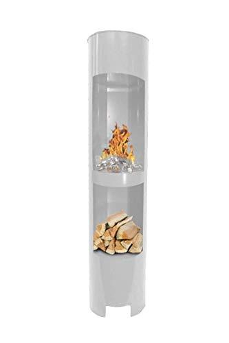 Ethanolkamin Gelkamin Höhe: 180cm / Breite: 37cm / Tiefe: 35cm / Säule Kamin Weiss mit Holzfach Inklusive: 3 x Brennstoff-Behälter