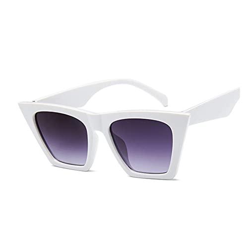 Mujer Vintage Gafas de Sol Mujeres Moda Ojo Ojo Lujo Gafas de Sol clásico Compras Dama Negra (Lenses Color : White)