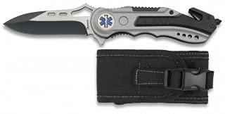 Albainox 19461GR1003. Navaja gris seguridad EMS. Mango de aluminio. Hoja sin sierra de 8.1 cm. Incluye punta rompevidrio y cutter cinturón de seguridad. Funda de nylon