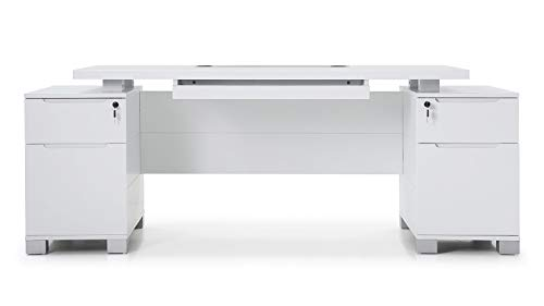 Ford Executive Modern Desk with Filing Cabinets - White Matte Finish