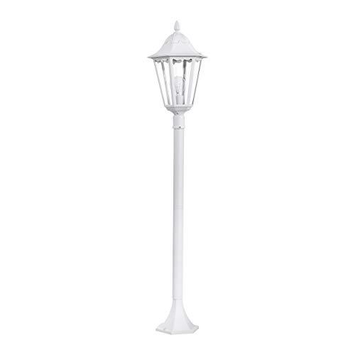 EGLO Außen-Stehlampe Navedo, 1 flammige Außenleuchte, Stehleuchte aus Aluguss und Glas, Farbe: Weiß, Fassung: E27, H: 120 cm, IP44