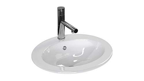 VBChome Waschbecken 50 x 45 Einbauwaschbecken aus Keramik mit Hahnloch Oval Waschtisch Waschtisch mit Überlauf Waschplatz zum einlassen in eine Platte Bad Badezimmer Hahnloch ohne Armatur