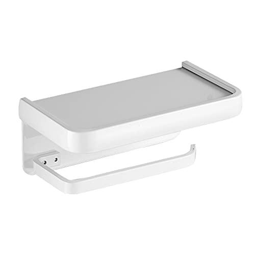 Yeekg - Porta carta igienica con porta cellulare, porta rotolo di carta igienica in alluminio, supporto da parete per telefono, supporto autoadesivo con ripiano