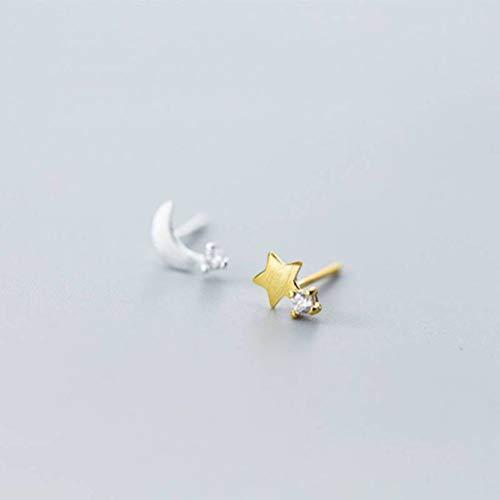 S&RL Pendientes de Plata S925 Asimétricos Pendientes de Diamantes de una Sola Mujer Coreanos Dulces Preciosos Pendientes Pequeños de Estilo Luna Y Estrellas de JoyeríaPendientes de plata S925