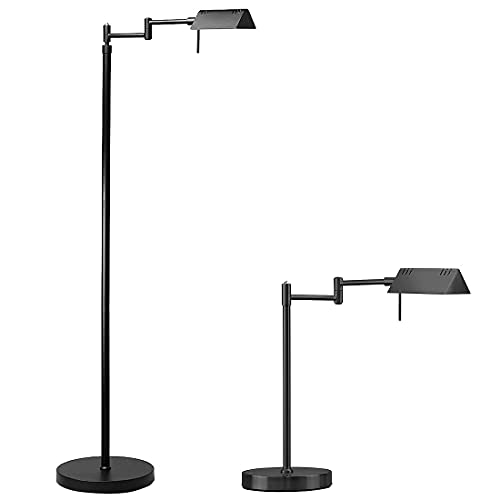 O'Bright LED Pharmacy Floor Lamp and Table Lamp Bundle, 12W LED, Full Range Dimming, 360 Degree Swing Arms, Reading Lamp, Task Lamp for Craft Work and Sewing, Black