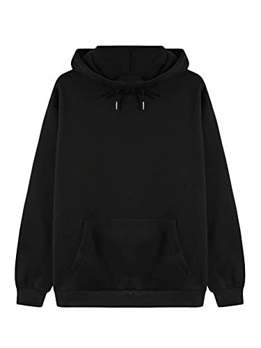 SOLY HUX Women's Casual Long Sleeve Drawstring Hoodie Pocket Front Sweatshirt Black S