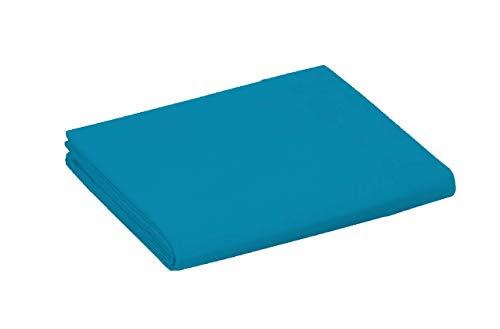 UNIVERS-DECOR Drap Plat 240 x 300 cm pour lit 2 Places 100% Coton / 57 Fils/cm² (Turquoise, Drap Plat 240 x 300 cm)