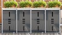 Mülltonnenbox Metall für 4 Mülltonnen mit Pflanzwanne anthrazit