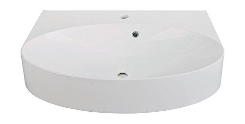'aquaSu® Waschtisch cOn | Mineralguss | Wandhängend oder als Aufsatzwaschtisch verwendbar | 60 cm | Weiß