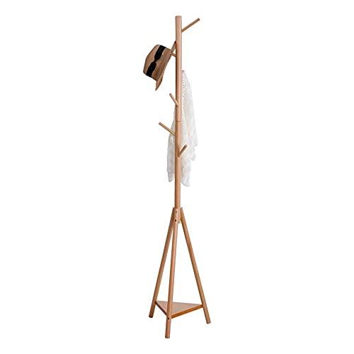 COLiJOL Perchero de Madera con Forma de Árbol, Perchero de Exhibición Independiente con 7 Ganchos para Ropa, Sombreros Y Bufandas de 14.5 '× 70' en 4 Colores,Color de Madera