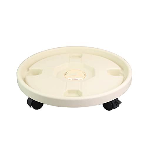 SGZYJ Bandeja redonda de plástico para macetas con ruedas, bandeja de palé, jarrón con rodillos, soporte para macetas (color: blanco, tamaño: 26)