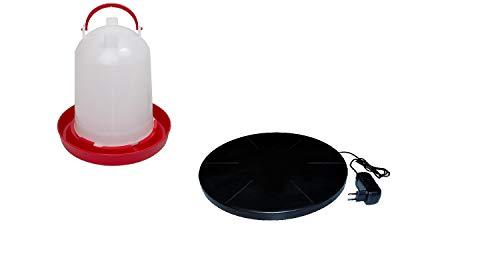 BVT Tränkenwärmer 25 cm Durchmesser mit 6 Liter Tränke rot/weiß