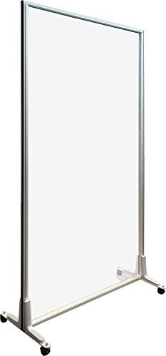 Riot Glass: Mobile Clear Acrylic - Plexiglass Sneeze Guard - Clear Shield - 39.5W x 71H - Year-Round Barrier - Versatile, Heavy-Duty, Freestanding, Lightweight, With Wheels