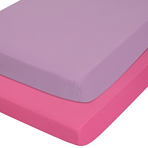 TILLYOU 2-Pack Snug Fit Microfiber Fitted Crib Sheet Set for Baby Boys Girls, Silky-Soft and Breathable Mattress Cover Anti-Pill for Standard Toddler Bed, 28x52x8, Deep Pink & Lavender