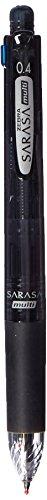 Zebra Multi Function Sarasa 4 Plus S Black/Red/Blue/Green Ink 0.4mm Ballpoint Pen, 0.5mm Mechanical Pencil, Black Body (J4SAS11-BK)