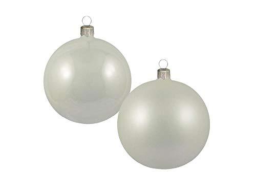 Confezione da 8 Pezzi Sfere in Vetro 70mm Lucido/Opaco Color Perla 8pz | LAVORATE A Mano | Perla | Palle di Natale | Decorazioni Natalizie | Decorazioni Albero di Natale - Diametro: 7cm