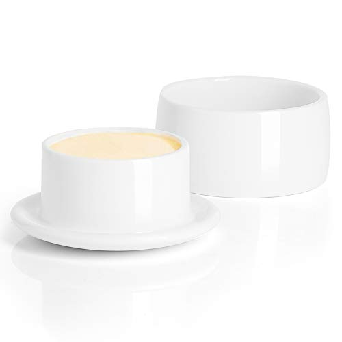 Butter Crock, French Butter Keeper - Fresh Soft Butter without Refrigeration, White, Porcelain - Better Butter & Beyond