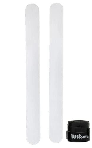 Protector para Pala de Padel Transparente Pack de Dos Unidades Protectores + Overgrip Wilson - Protector Pala Padel Transparente con Acabado Rugoso para Mayor Proteccion 35 x 370 mm (Over Negro Liso)