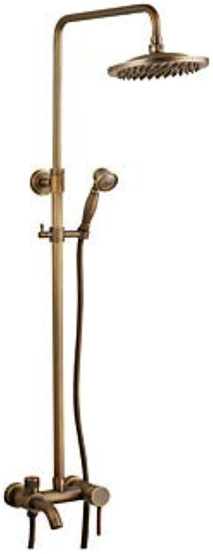 YALTOL Antike Dusche Wasserhahn Kupfer, Gebürstet Wandmontage Messing Ventil Badewanne Dusche Mischbatterien