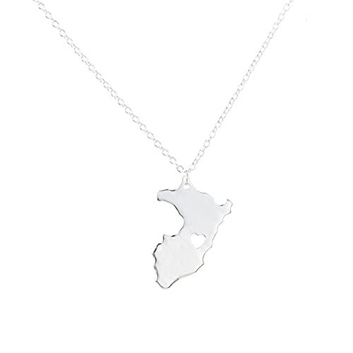 DOOLY Esquema Mapa de Perú con corazón Collar País de Perú Mapa Colgante Collar Mapa Joyería