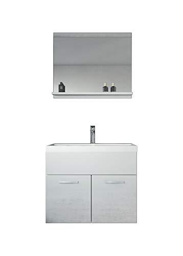 Badezimmer Badmöbel Montreal 02 Weiß 60cm Waschbecken - Unterschrank Waschtisch Spiegel Möbel