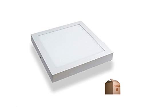 Plafón de Techo LED Cuadrado 22x22 cm,20W (Pack 5) Blanco Frio 6000k-6500k Superficie Marco Blanco Panel LED Lámpara de Techo ONSSI LED