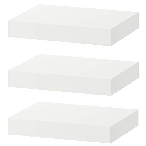 Wallniture Denver Modern Wall Mount Floating Shelves – Long Narrow Picture Ledge - 56 Inch Long White Set of 2 - Mounting Hardware Included