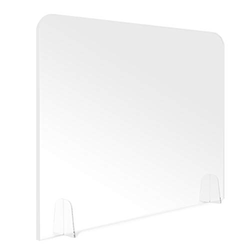 Newbyinn Acrylic Plexiglass Sneeze Guard Shield Sneeze Guard for Desk and Counter, 32'W 24'H