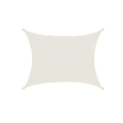 Sun Shade Sail Canopy, Rectangle Waterproof UV Block Shade Sunshade Fabric Outdoor Cover Awning Shelter for Pergola Backyard Garden Yard,White,5X7m