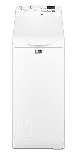 AEG L6TBK621 Lavadora de Libre Instalación, Carga Superior, 6 Kg / 1200 rpm, 14 Programas, Programa Rápido 20 min, Inicio Diferido, Autoposicionamiento Tambor, Apertura Suave, LCD, Blanca, A+++