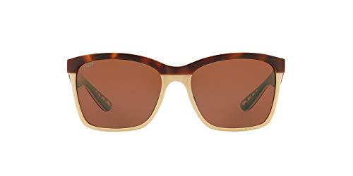 Costa Del Mar Women's Anaa Polarized Rectangular Sunglasses, Retro Tortoise/Cream/Mint/Copper Polarized-580P, 55 mm