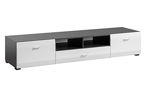 Clif - Mueble bajo para televisor (180 cm), color gris y blanco